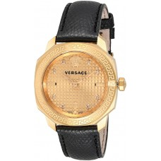 Versace Women's Gold Dial Leather Band Watch