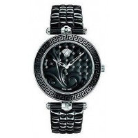 Versace Women's Black Quilted Dial Stainless Steel Band Watch