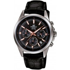 Casio Men's Black Dial Leather Band Watch