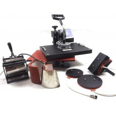 7 in 1 combo heat press machine, including t-shirt, cap, mug, plate printing frame