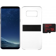 Samsung Galaxy S8+ Dual Sim - 64GB, 4G LTE, Midnight Black with KickTOK Cover, Black and SanDisk 128GB microSD Card